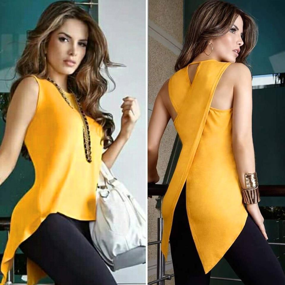 Women Blouse Shirt Cross Irregular Womens Tops and Blouses Sleeveless Feminine Blouse Female Backless Summer Tops