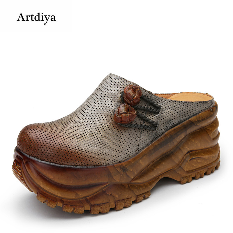 Artdiya 2018 Spring and Summer High Heels Slippers Genuine Leather Thick Sole Water-proof Platform Slope Women Sandals F689-608 slope with super high heels 14cm platform shoes sandals and slippers spring and summer fish head thick crust waterproof shoes