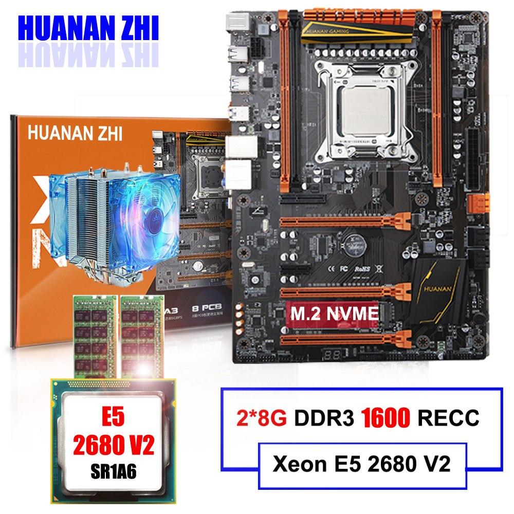 M.2 carte mère à vendre HUANAN ZHI DELUXE X79 LGA2011 carte mère avec uc Intel Xeon E5 2680 V2 avec cooler RAM 16G (2*8G) RECC