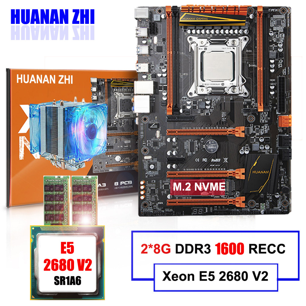 M.2 carte mère en vente HUANAN ZHI DELUXE X79 LGA2011 carte mère avec CPU Intel Xeon E5 2680 V2 avec cooler RAM 16g (2*8g) RECC