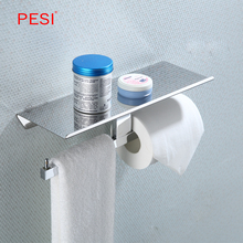 Toilet Paper Holder Wall Mount Tissue Roll Hanger with Mobile Phone Shelf Bathroom Hardware Accessories,Chrome.