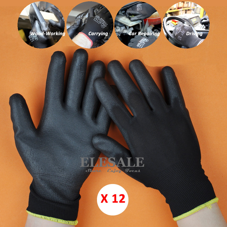 12 Pairs New Work Safety Gloves Nylon Knitted Gloves With PU Coated For Gardener Builder Driver Mechanic Protective Gloves ...