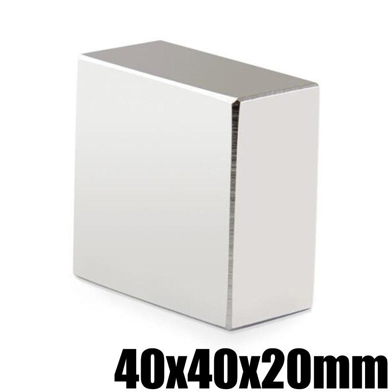 2 piezas N52 bloque de imán de neodimio 40x40x20mm NdFeB permanente potente fuerte estupendo magnético imanes cuadrados búsqueda imán