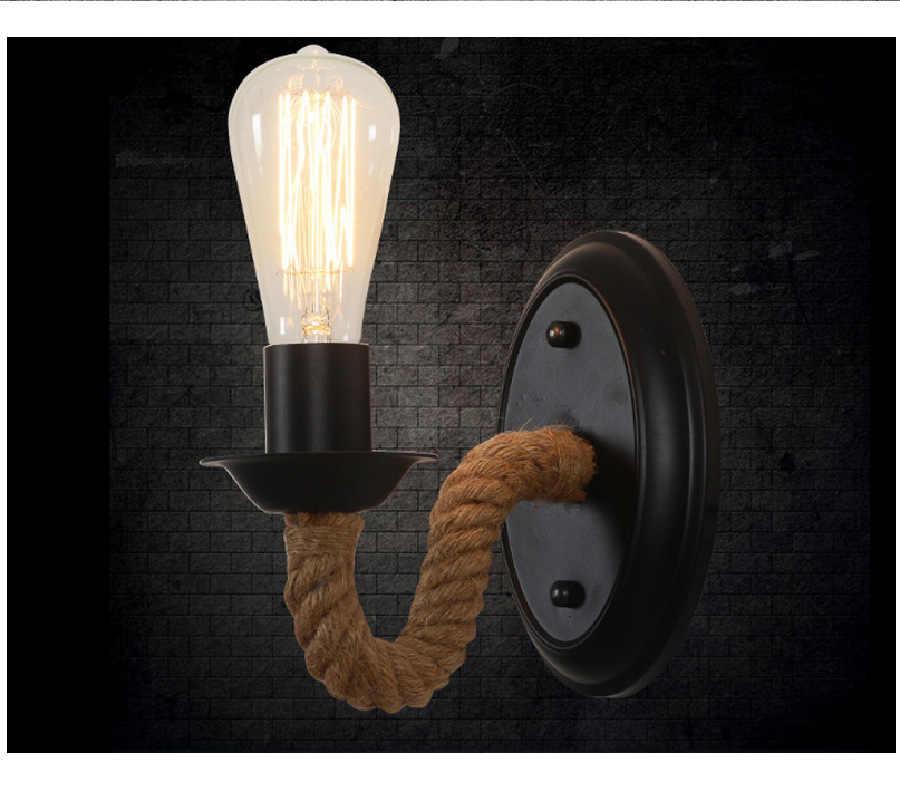 Лофт Железный пеньковый Канат настенный светильник Ретро винтажное освещение закрытый настенный светильник американский промышленный освещение подъемный шкив настенный светильник
