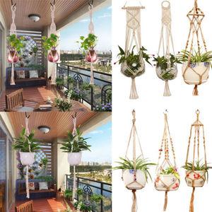 Image 4 - Garden Decoration Vintage Macrame Plant Hanger Flower Pot Garden Holder Legs Hanging Rope Basket Handcrafted Braided Hanger Pot