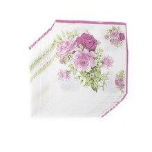 20 шт./упак./лот розовое Бумага салфетка с цветами для праздников и салфетки из ткани для вечеринок декупаж 33 см* 33 см