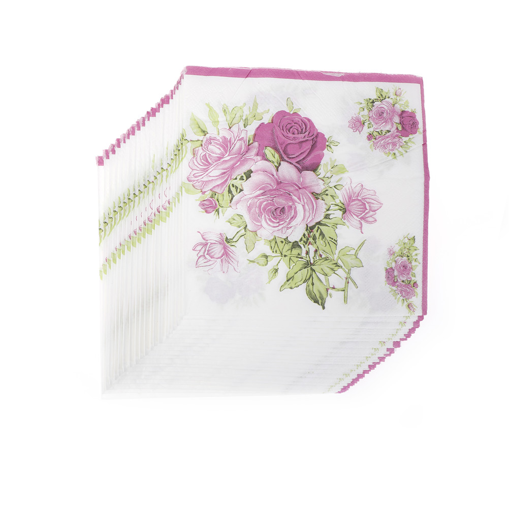 20pcs/pack/lot Rose Paper Napkin Flower Festive & Party Tissue Napkins Decoupage 33cm*33cm