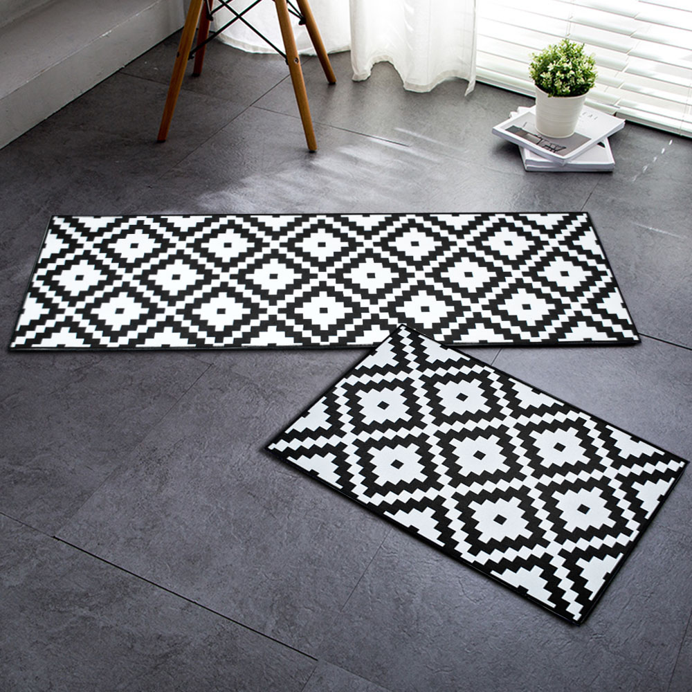 Awesome Us 8 54 5 Off Rayuan Flannel Black And White Geometric Kitchen Floor Mats Door Mat Long Carpets Anti Slip Doormat Rug Home Decor In Mat From Home Interior Design Ideas Pimpapslepicentreinfo