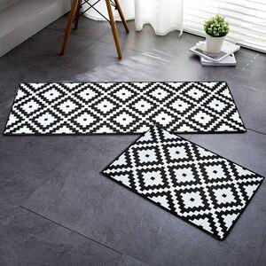 RAYUAN flanelowe czarno-białe geometryczne kuchenne maty podłogowe wycieraczka do butów długie dywany antypoślizgowe wycieraczka dywan Home Decor