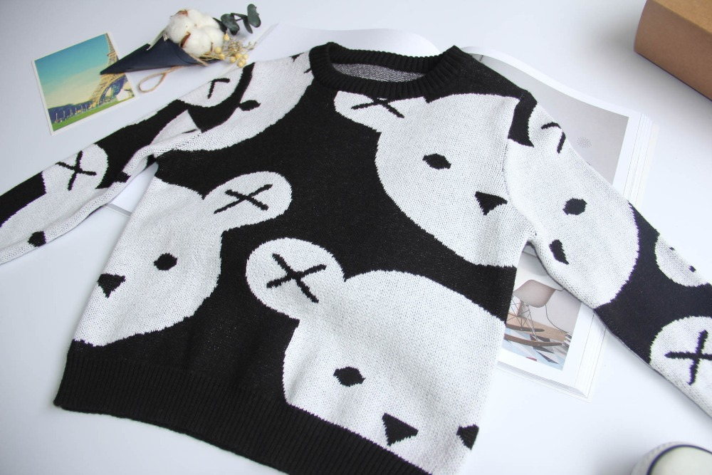 1-5Y-Kids-Cotton-Knitted-Black-White-Bear-Sweater-Pullovers-Baby-Girls-Boys-Clothes-Children-Cartoon-Tops-Outerwear-3
