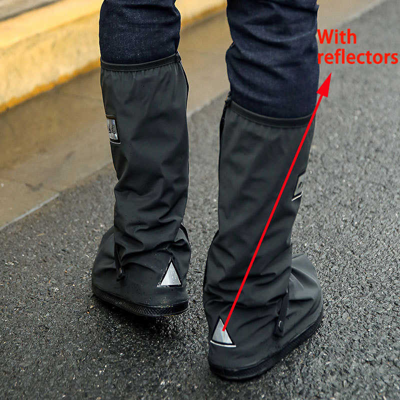 Retail and Wholesale Waterproof Shoe Covers Waterproof Reusable Motorcycle Cycling Bike Boot Rain Shoes Covers With Relectors