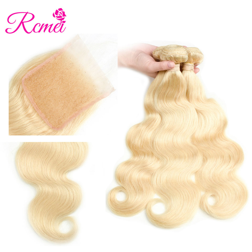 613 Blonde Brazilian Body Wave Hair Bundles With Closure 8-30 Inch Long Length Blonde Hair Weaving 3 Bundles With Closure Rcmei