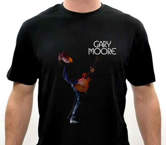 GARY MOORE With Guitar Rock & Blues guitarist Men's Black T-Shirt Size:S-to-2XL image