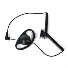2017 Walkie Talkie HYS Hight Calidad Seguridad 1 Pin Negro auriculares de 3.5mm enchufe en Forma de D Auricular para Radio MP3 MP4 Auriculares 001D
