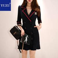 Black Blazer Dress Office Double breasted Ruffle With Brooch Pencil Solid Three Quarter Sleeve Turn down Collar Autumn Dresse