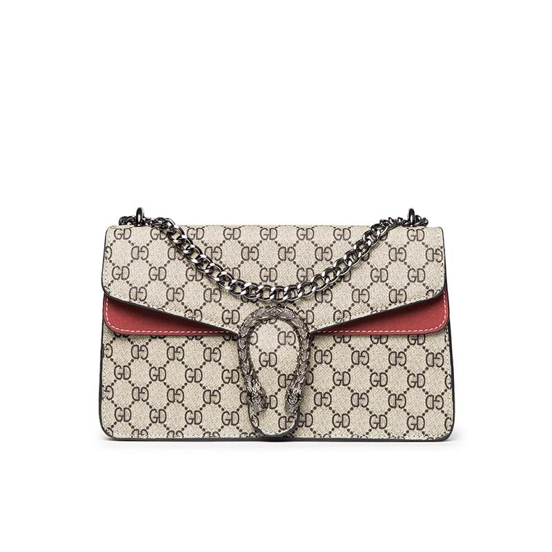 все цены на Classical Women Letter Print Handbags High Quality PU Female Chains Shoulder Bags Dionysus Flap онлайн