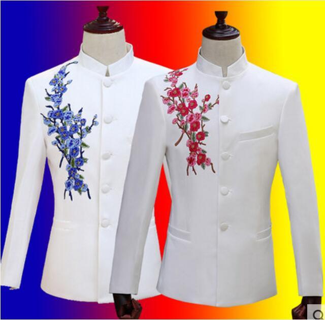 Chińska tunika garnitur biały strój zestaw Plus rozmiar niebieski lub czerwony kwiat haftowane kurtka spodnie hosta strój mężczyźni piosenkarka pokaż etap nosić w Garnitury od Odzież męska na  Grupa 1