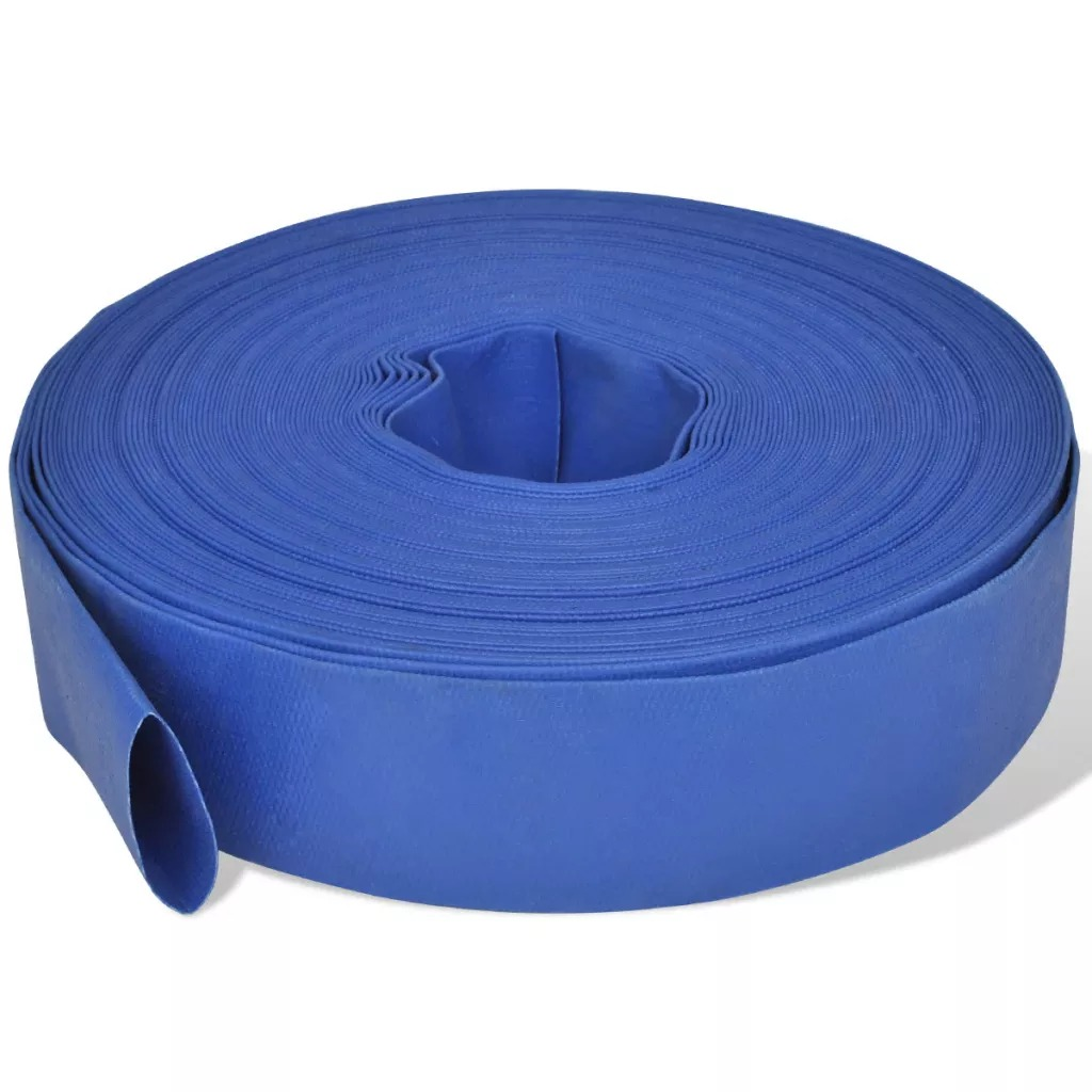 VidaXL Flat Pipe 50 M 2 Inches PVC Handy Fire Hose For Water Pumps Weather-Resistant Lightweight Flexible Fire Hose