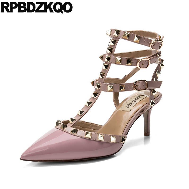 Rivet Stud Nude Strappy Italian Sandals Slingback Colourful Ladies Yellow Shoes Summer T Strap High Heels Pointed Toe Stiletto pointed toe slip on high heels strappy 2017 chic size 4 34 black ladies kitten sandals medium fashion low summer shoes slingback page 7