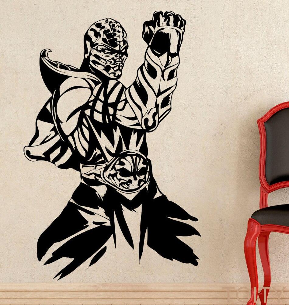 Scorpion Wall Sticker Mortal Kombat Game Vinyl Art Decal Home Interior Design Bedroom Dorm Decor Boys Room Removable Mural