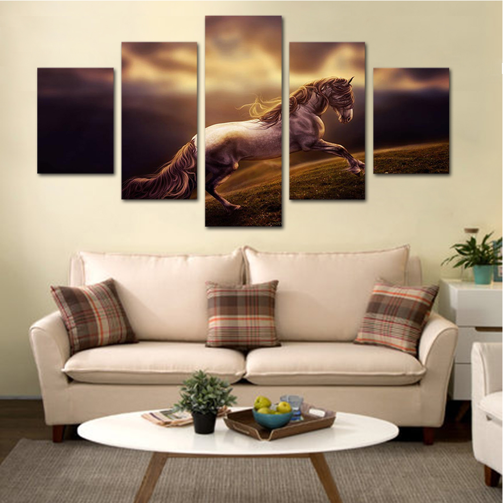 Unframed HD Print 5 Canvas Art Paintings Prairie Horse Canvas Mural Living Room Decoration Picture Unframed Free Shipping