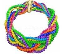 Handmade boho chic chunky chocker declaración granos del rosario/rosario/mala/perola gran collar babero/cuello/maxi colar collier femme/joyeria