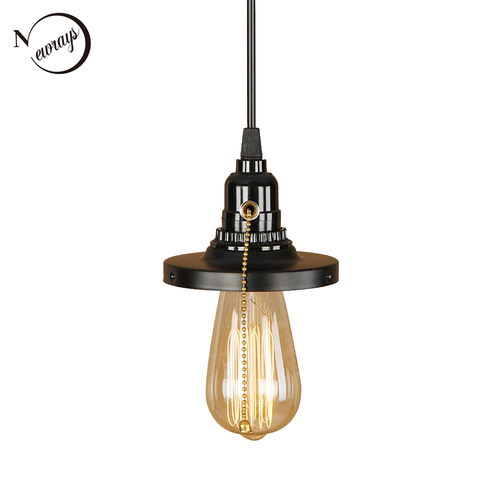 Loft retro iron black pendant light LED E27 simple hanging lamp with switch for living room restaurant bedroom kitchen hotel bar цена