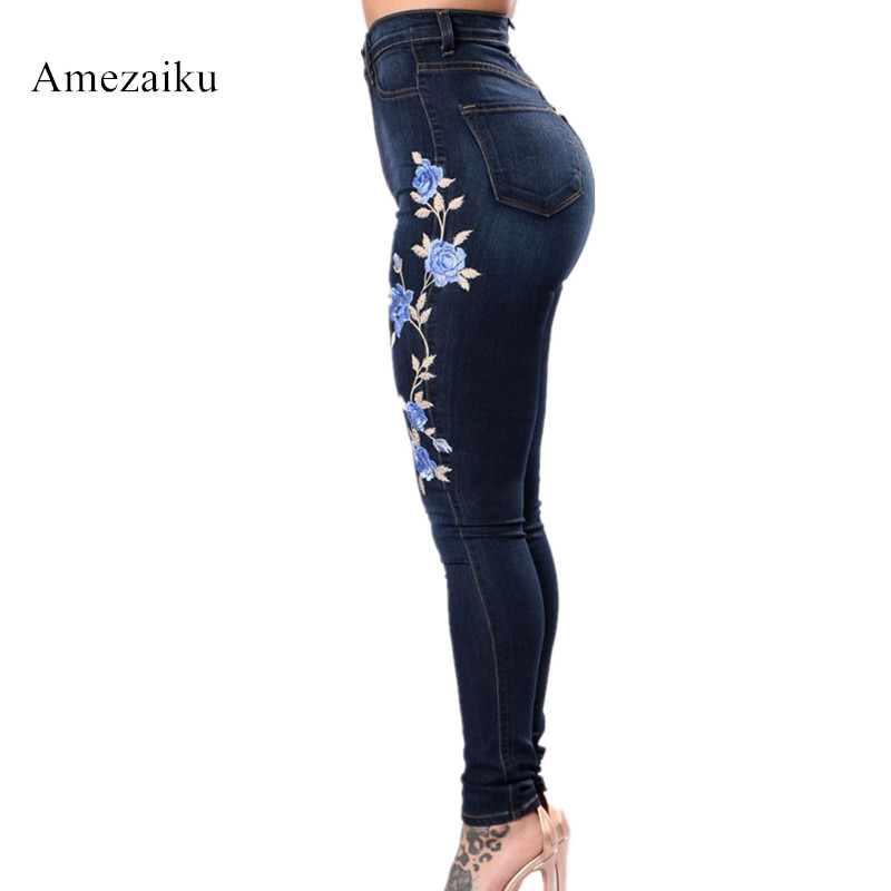Plus Size Floral blue Jeans With Embroidery Flower Women Stretchy Denim Pants Trousers For Woman Skinny Jeans sexy women denim light blue skinny jeans crochet lace party female carve flower pants for women plus size s 3xl clothing k096