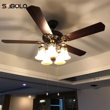 Ceiling Fans With Lights For Living Room 220V Wooden Ceiling Fans 42 48 Inch Remote Control Ceiling Light Fan Lamp cheap Modern iron Knob switch Incandescent Bulbs CF-01 10KG 48cm Wall Control Modern Ceiling Fans With Lights NoEnName_Null 2 Years