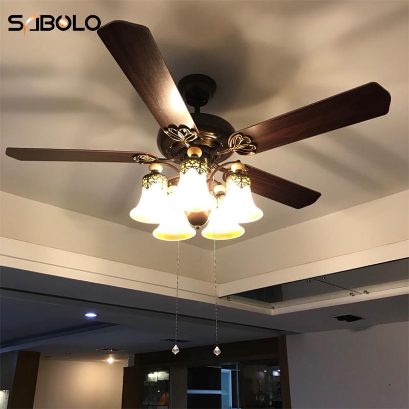 Ceiling Fans With Lights For Living Room 220v Wooden