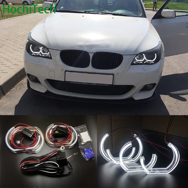 White Crystal DTM Style LED Angel Eyes Halo Rings Light kits For BMW 5 SERIES E60 E61 LCI M5 2007 2010 Xenon headlight