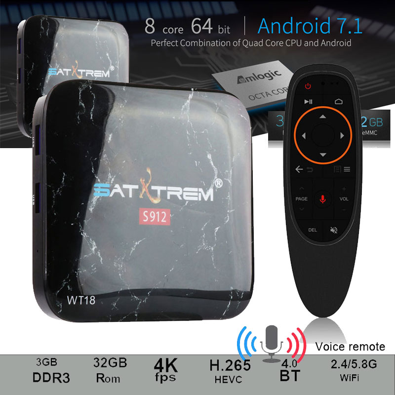 SATXTREM WT18 TV Box Amlogic S912 Octa core Android 7.1 3GB Ram 32GB Rom HDMI 2.0 4K Bluetooth4.0 Support Google Play,Youtube