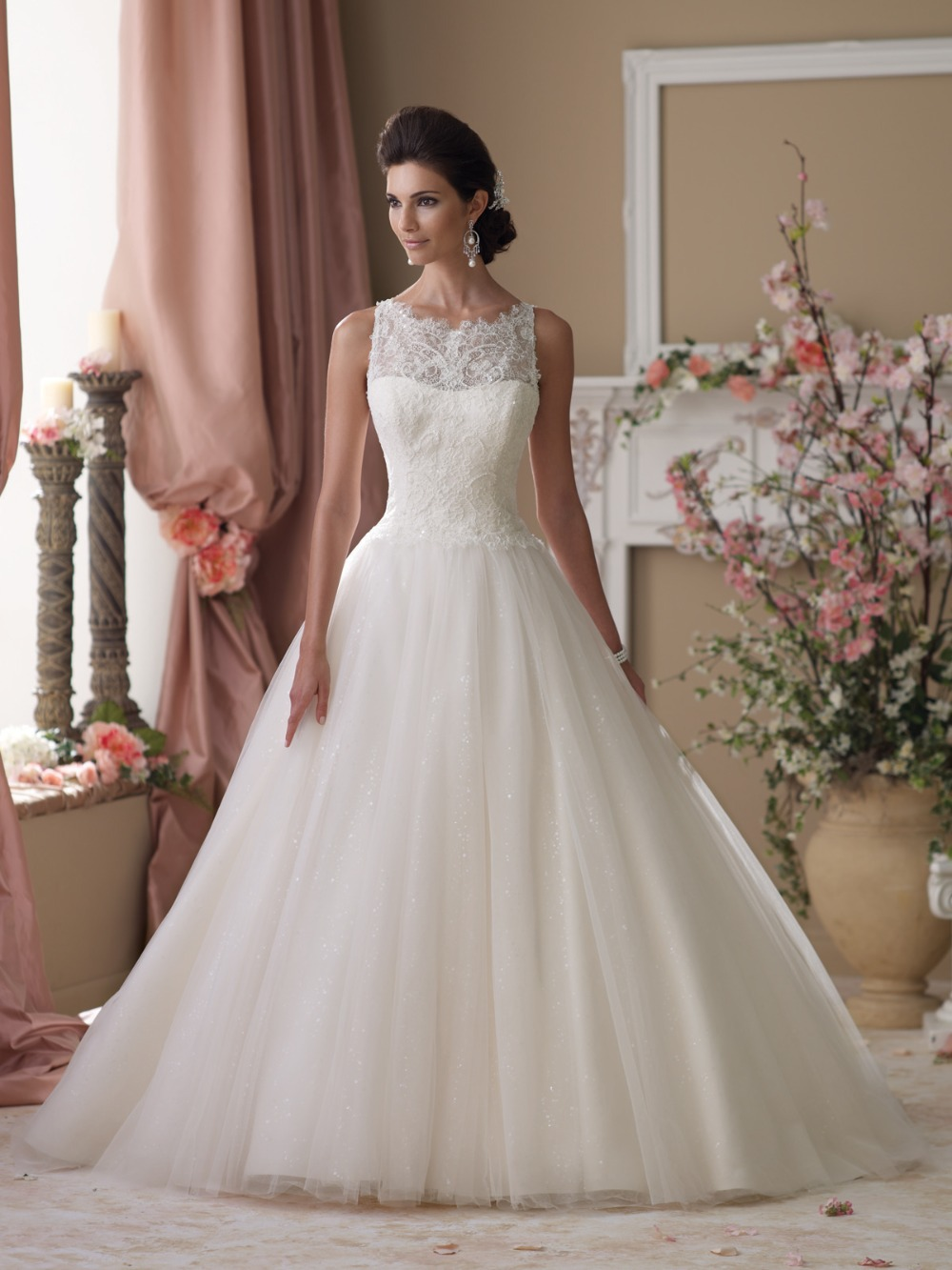 Charming High Collar Lace And See Through Wedding Dresses Women - Covered Back Wedding Dress
