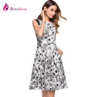 Berydress Elegant Women Contrast Sleeveless A Line Knee Length Wedding Party Floral Print Vintage Swing Dress