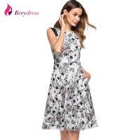 Berydress Elegant Women Contrast Sleeveless A Line Knee Length Wedding Party Floral Print Vintage Swing Dress