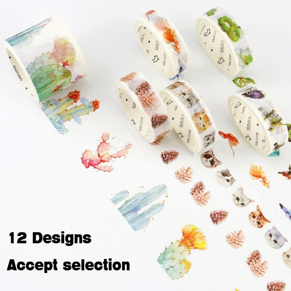 12Designs 15/30mm*7M Fruit/Birds/Bra/Cat/Succulents/Clothing Pattern Japanese Washi Decorative Adhesive DIY Masking Paper Tape