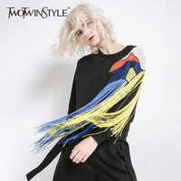 TWOTWINSTYLE Patchwork Mesh Sweatshirt For Women O Neck Long Sleeve Colorful Tassel Pullovers Tops Female Fashion Clothing New