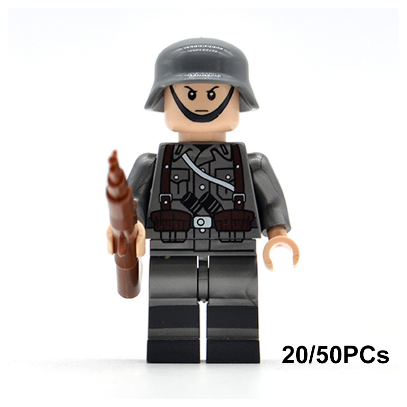 20/50PCs/lot WW2 German Military Army Soldiers UK US Italy Building Blocks Bricks with Weapons Gift Toys for Children