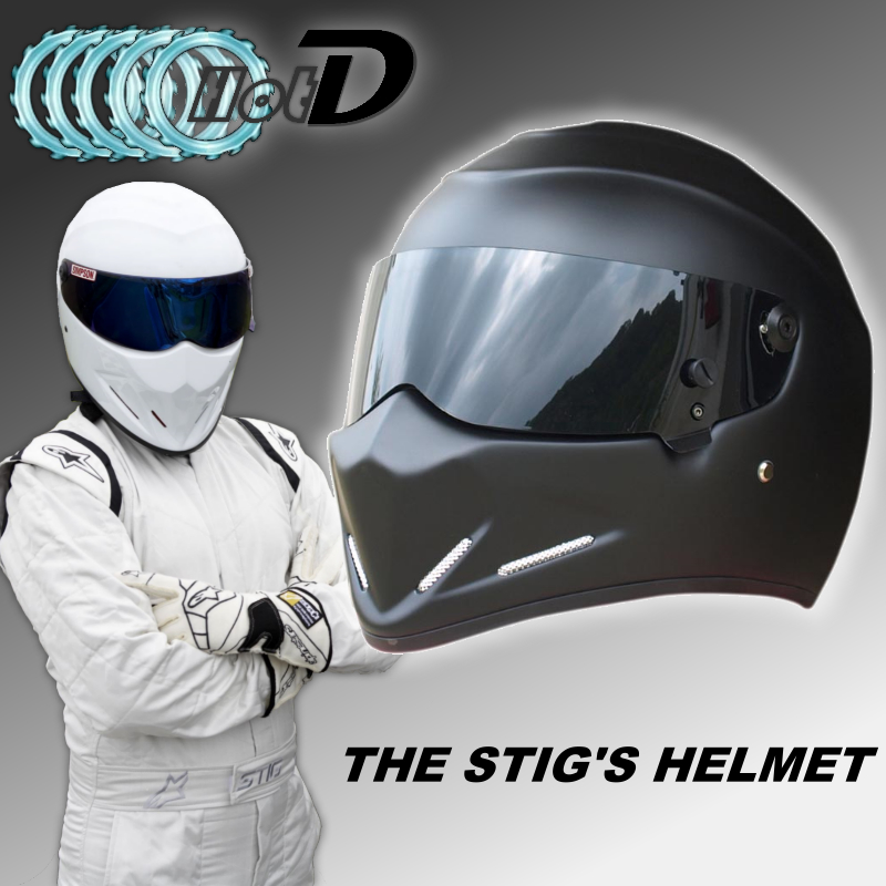 TopGGGear The STIG Matte Black Helmet with Black Visor / Collectable / Like as SIMPSON Helmet / Motorcycle Helmet / FiberGlass лонгслив stig лонгслив