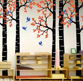 Fashion Style Kids Nursery Bedroom Sweet Decorative Wall Sticker Nursery Large Tree With Flying Birds Birch Tree Vinyl DecalT-12
