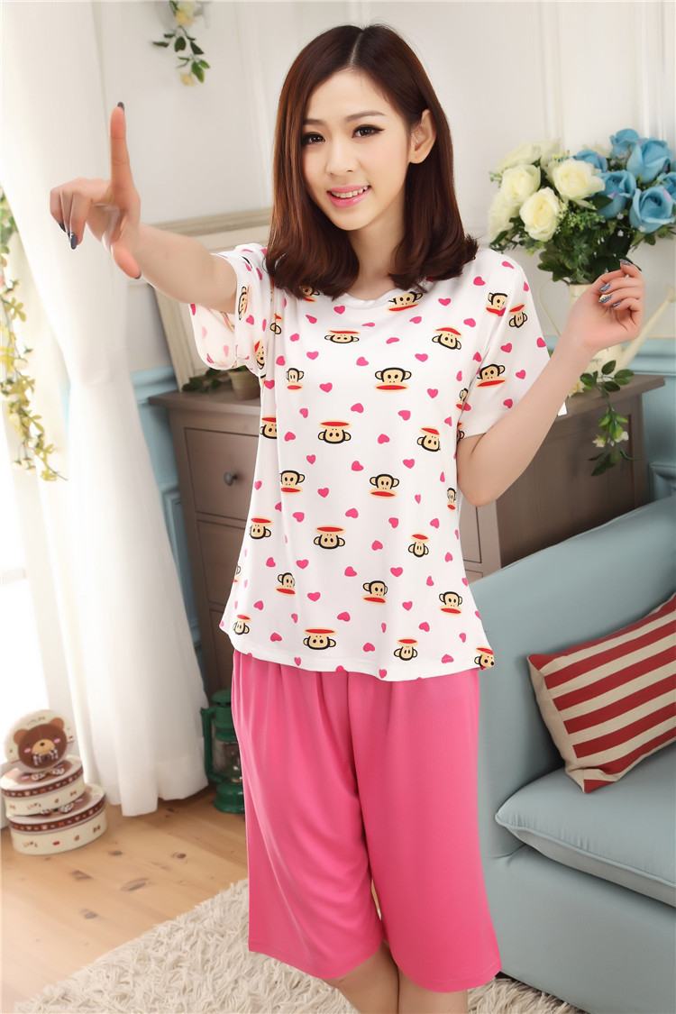 28cbdfff58 Free shipping girl sleeping clothes sets women pajamas sleepcoat nightgown  nighty short sleeve striped tops tees+pants bedgown-in Pajama Sets from  Underwear ...