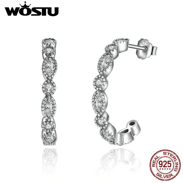 c4975123f High Quality 100% 925 Sterling Silver Alluring Brilliant Hoop Earrings With  Clear CZ For Women Authentic Original Jewelry Gift