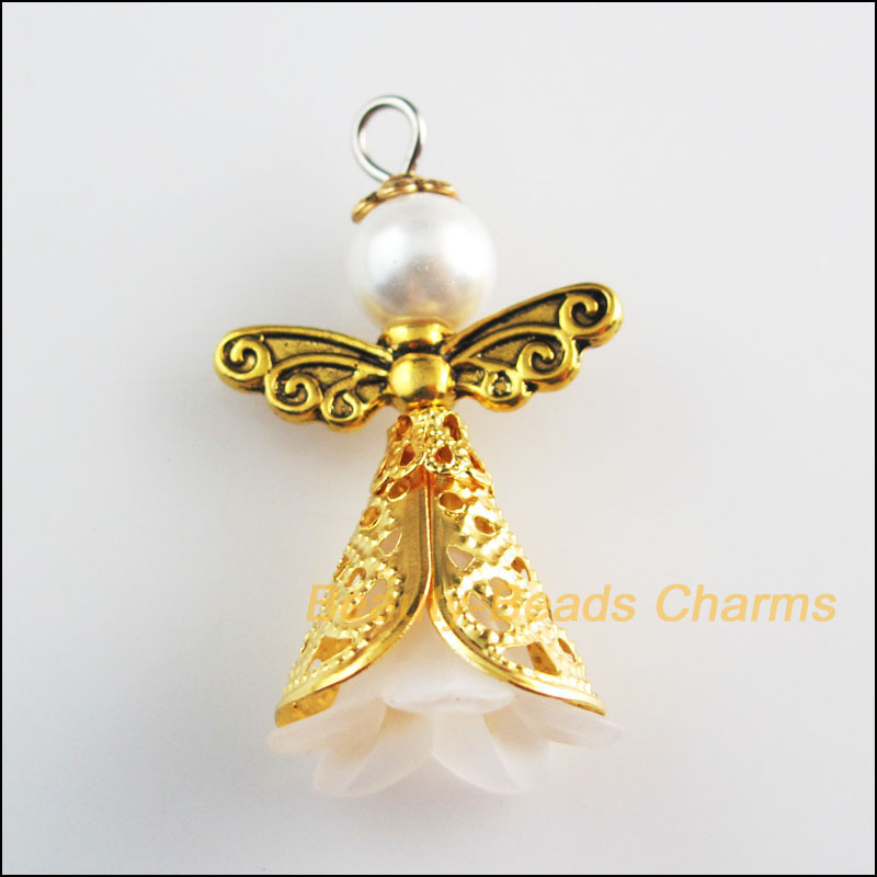 New 4Pcs White Acrylic Angel Wings Antiqued Gold Tone Charms Pendants 22x37mm