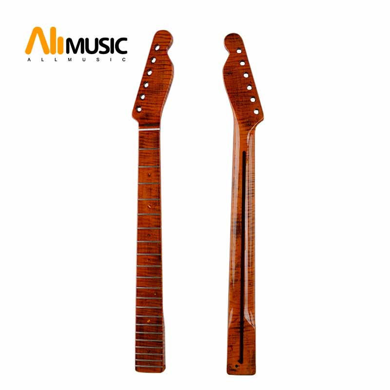 Guitar Neck TL 21 Fret Rosewood Tiger Flame Maple with Back Strip 6MM Abalone Dots Yellow
