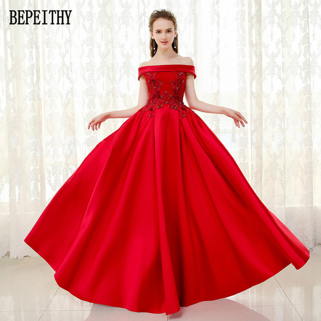 BEPEITHY Vestido De Festa New Design Appliques Beads Prom Dress Satin  Off-Shoulder A-Line Red Long Evening Dresses 2019 a857a3df154e