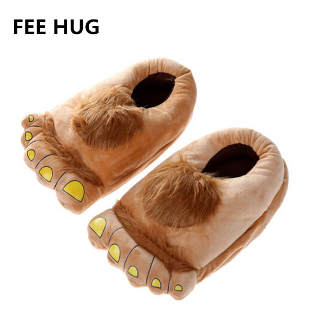 Indoor Slipper Wear Big Hairy Unisex Savage Monster Hobbit Feet Slippers Home Slippers Adult Pattes Pantoufles 2015 40-44 Size plush flat indoor cartoon flock adult furry slippers fluffy winter fur animal shoes rihanna house home women adult slipper anime
