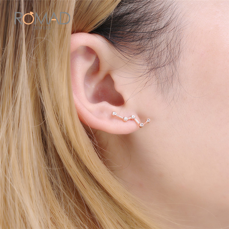 Boucles d'oreilles Constellation zodiaque couleur or Rose pour femmes Brincos cubique zircone CZ cristal bijoux bijoux boucle d'oreille Z4