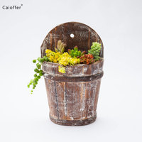 Caioffer Wall Hanging Wood Flower Box Pot Personalized Succulent Planters Stands Handmade Garden Decoration Wooden Flowerpot