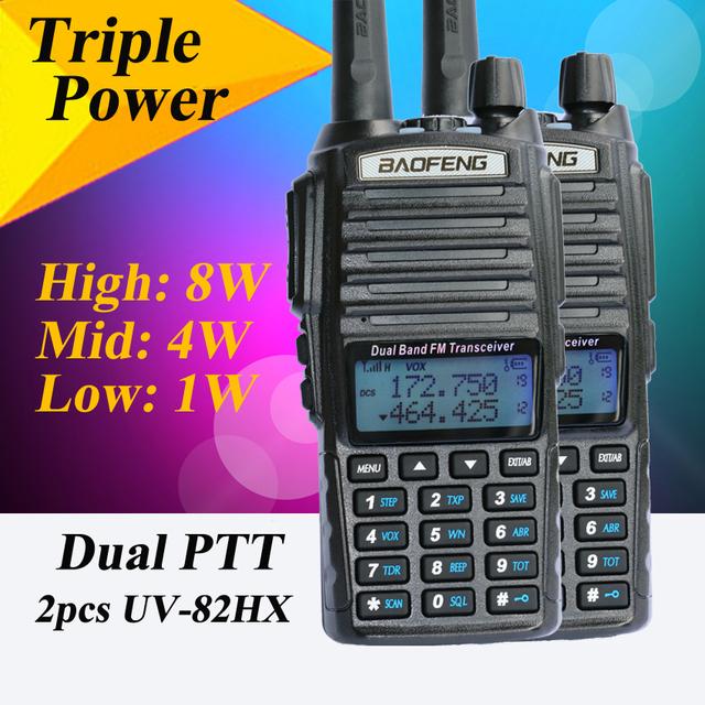 2 pcs uv82hx walk talk baofeng uhf/vhf 8 w rádio portátil set, irmã talkie baofeng 82 uv-82 bf-uvb2 bf-a58 uv-b6 gt-3