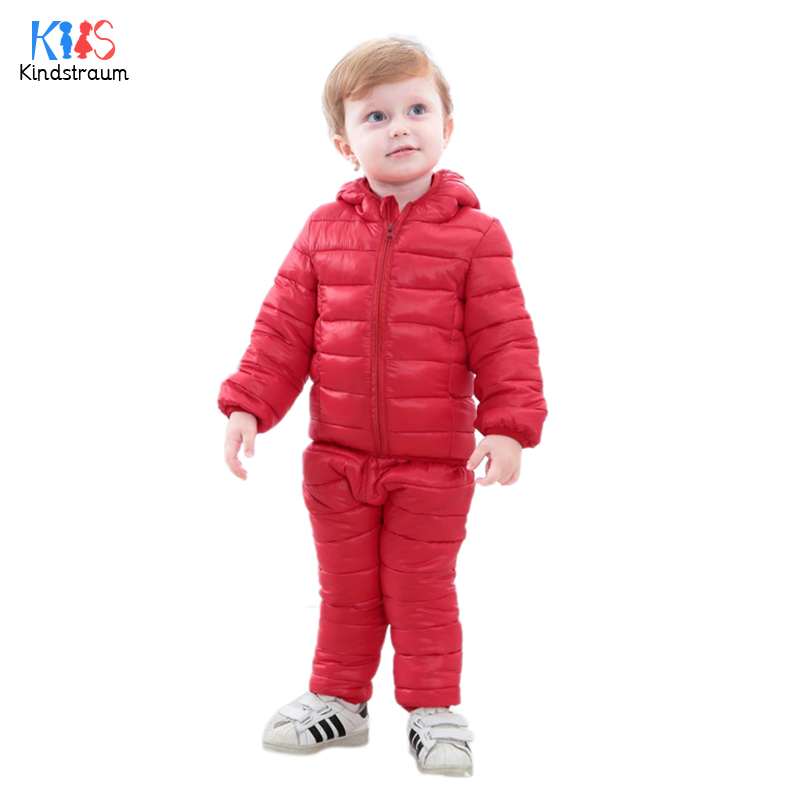 Kindstraum 2017 Winter Children Clothing Sets Boys Girls Hooded Cotton Jacket+Trouser Baby Kids Solid Sports Suits Outwear,MC829 цены онлайн
